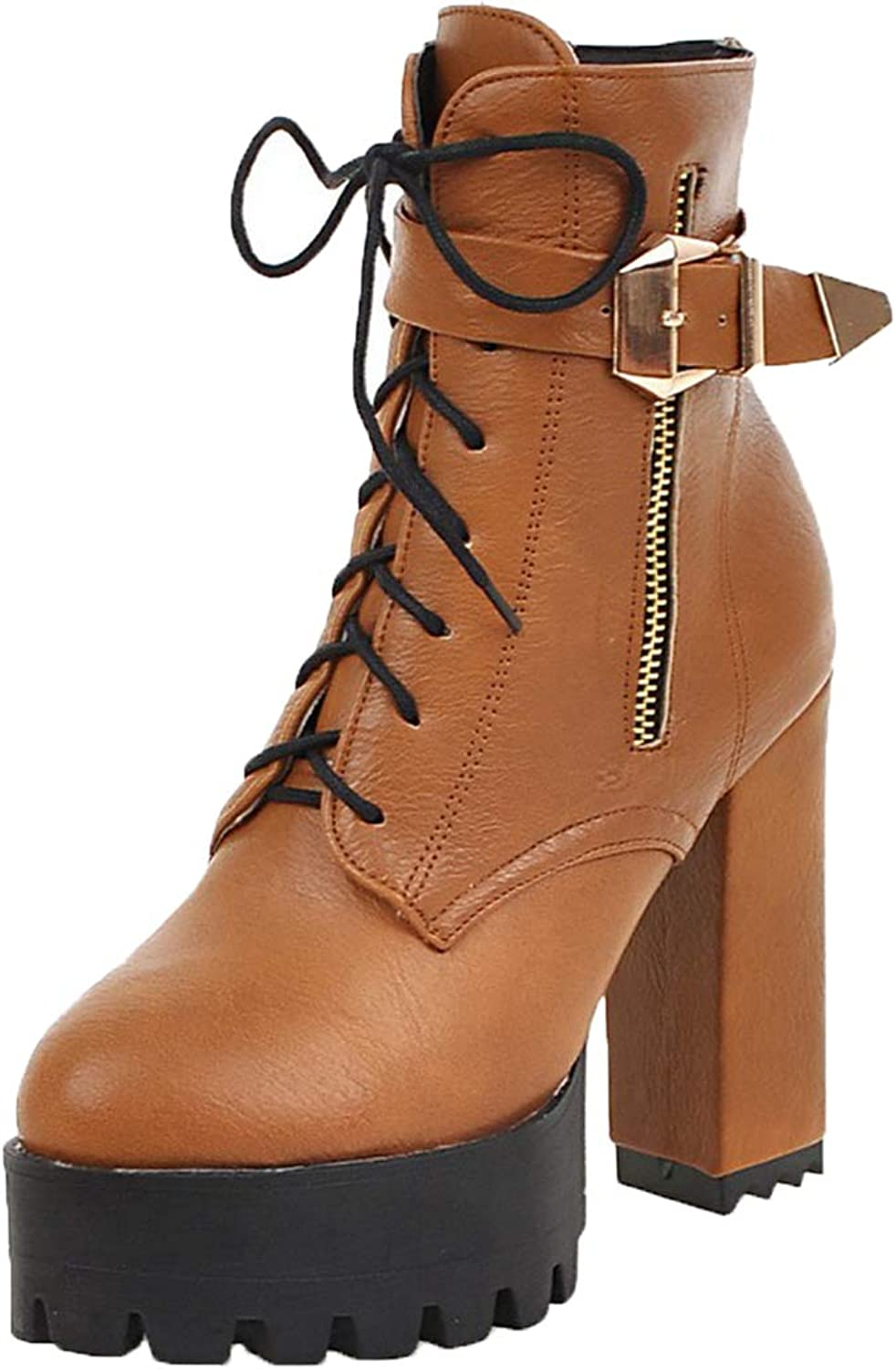 Vitalo Womens Lace Up Chunky High Heel Platform Ankle Boots with Buckle Zip Up Booties