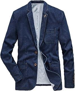 Surfiiy Giacca di Jeans Uomo Slim Fit Risvolto Lavoro Giacca Uomo Casual Cappotto con Tasca Blazer da Uomo - Unico