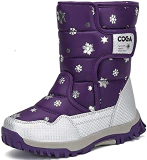 MEAYOU Girls Boys Snow Boots Kids Winter Warm Waterproof Outdoor Slip Resistant Cold Weather Fur Lined Shoes Pink Purple Blue Black (Toddler/Little Kid/Big Kid)