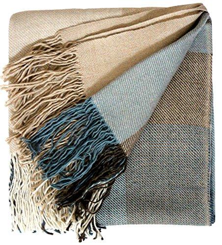 Lorenzo Cana Alpakadecke 100prozent Alpaka vom Baby Alpaka Fair Trade Decke Wohndecke handgewebt Sofadecke Tagesdecke Kuscheldecke blau braun 96030