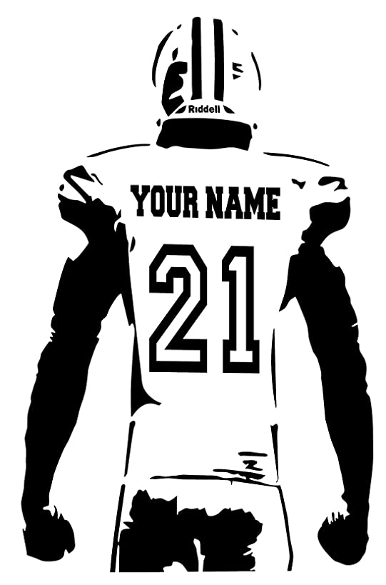 Personalized Custom Football Wall Decal - Choose Your Name & Numbers Custom Player Jerseys Vinyl Decal Sticker Decor Kids Bedroom (23