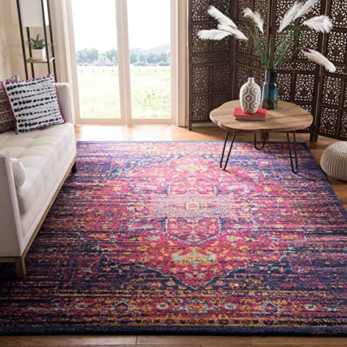 Safavieh Evoke Collection EVK275F Oriental Medallion Blue and Fuchsia Area Rug (10' x 14')