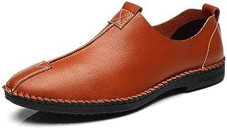 Shoes 男性用ドライビングシューズレジャーローファーポインテッドトゥオックスフォードカジュアルフラットペニーシューズマイクロファイバーアッパースリップウォーキング用ドライビングシューズ軽量 Comfortable (Color : 褐色, サイズ : 26 CM)