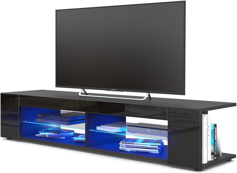 TV Board Lowboard Movie, Korpus in Schwarz matt Fronten in Schwarz Hochglanz inkl. LED Beleuchtung in Blau