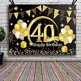 APERIL Decoración de Fiesta de 40 Cumpleaños de Oro Negro, Póster de Tela Cartel Extra Grande para 40 Aniversario Feliz Cumpleaños Pancarta de Fondo Materiales de Fiesta de 40 Años Cumpleaños