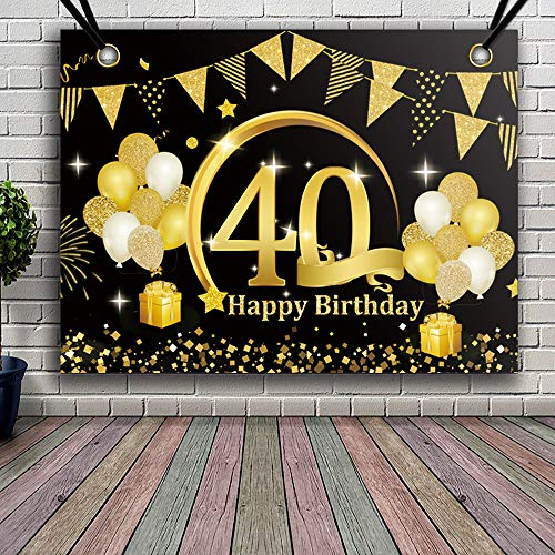 APERIL 40 Decorazioni di Compleanno Oro Nero, 40 Anni di Buon Compleanno Decorazione di Festa per Uomo Donna, Poster di Tessuto Sfondo Fotografico 40° Festoni Compleanno Feste di Compleanno