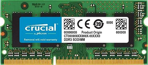 Crucial CT51264BF160B 4Go (DDR3L, 1600 MT/s, PC3L-12800, SODIMM, 204-Pin) Mémoire