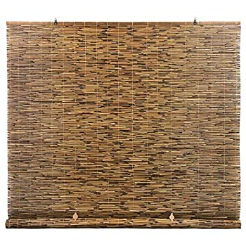 Radiance Cord Free Roll-up Reed Shade Natural 72 x 72 Cocoa