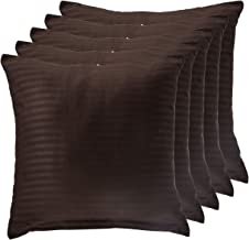 Panache Exports Satin Stripe Cushion Cover Set, Coffee, 45 cm x 45 cm, PECUSCVR01, 5 Pieces