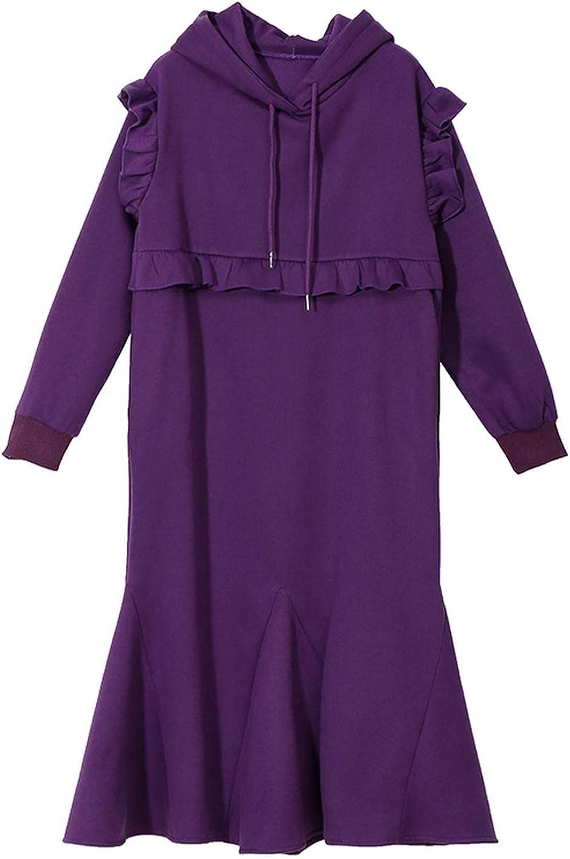 AllAboutUs Women Solid Purple Black Winter Hooded Trumpet Dress Long Sleeve Ruffles Dress 4655