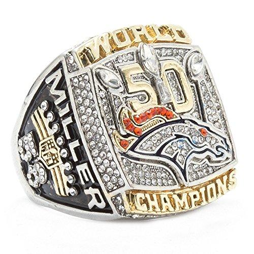 ZNKVJ Herren Denver Broncos Miller Meisterschaft Ringe des Jahres 2015,Größe 65(20.7)