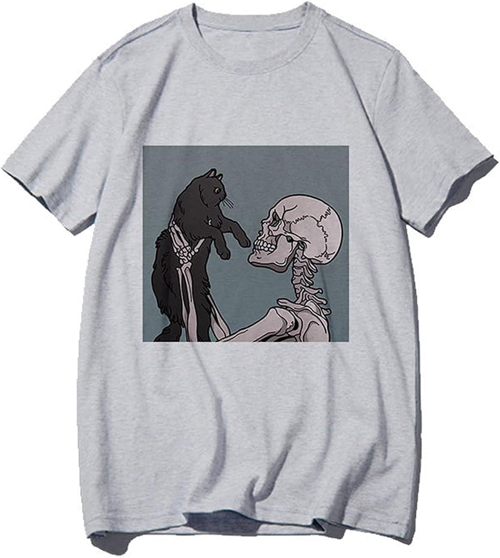 Aatsenky Summer Y2k Tops for Women, Casual Vintage Skull Short Sleeve T-Shirt, Oversize Loose Crewneck Elastic Black Tees