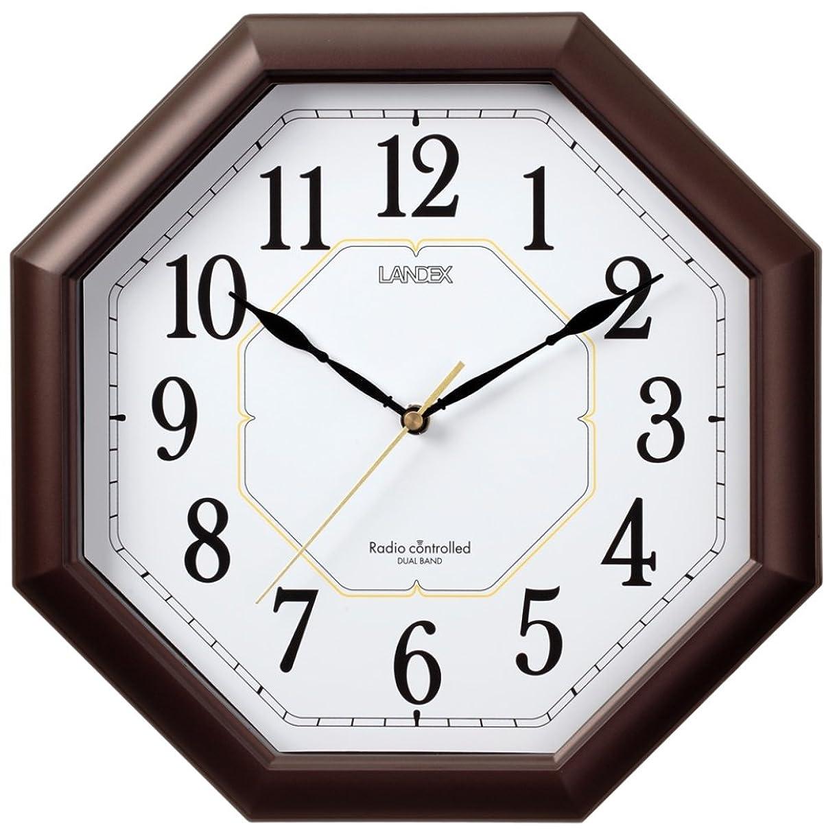恵み勧める理容師ランデックス(Landex) 掛け時計 電波 アナログ ハイパーエイト 夜間秒針停止 ダークブラウン YW9138DBR