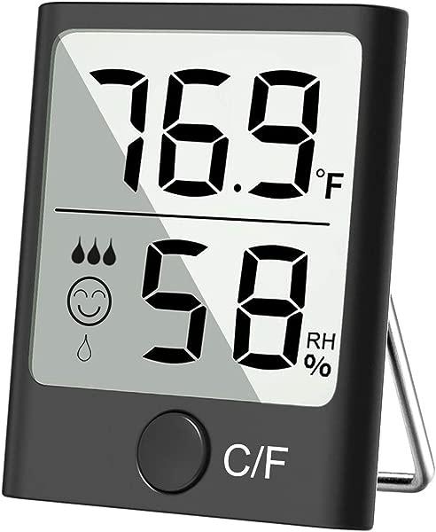 Cbiumpro 湿度计室内温度计数字湿度计精确温度湿度监测仪用于客厅温室酒窖地下室枪支保险箱浴室壁橱保湿器