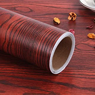 "Wood Contact Paper Self-Adhesive Removable Wood Peel and Stick Wallpaper Decorative Wall Covering Vintage Wood Panel Interior Film Leave No Trace Surfaces Easy to Cle15.8""x 78.7""(Red)"