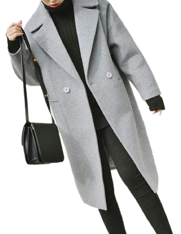 maweisong 女性の濃厚ウール冬コクーンスタイル半ばロングラペルコート