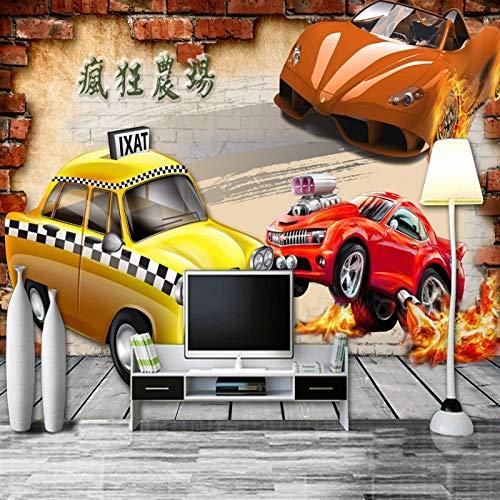 Crazy Car Taxi amarillo Sedán rojo que respira fuego Carácter chino