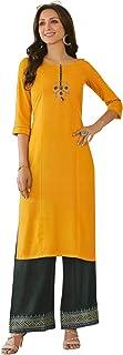 ladyline Womens Rayon Plain Kurta with Embroidery & Palazzo Pants Embroidered Indian Tunic Kurti