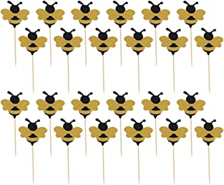 Toyvian 30pcs Bee Cake Topper Glitter Bumble Bee Cupcake Toppers Desserts Cake Decor for Baby Shower Gender Reveal Bee Bir...
