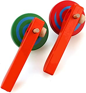 GoodPlay 2PCS Wooden Spinning Top Gyroscope peg-top with Handle and Pull String Wire,can Last Long time, Color Random