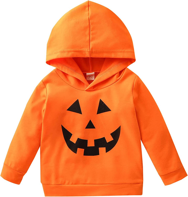 Toddler Girls Boys Halloween Hoodie Pumpkin Ghost Print Hooded Sweatshirts Pullover Kids Shirt Tops Fall Clothes