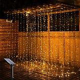 ADLOASHLOU 300 LED Cortina de Luces Solar 9,8 x Pies, 8 Modos Cadena de Luz Resistente al Agua, Led Luces Decorativas Guirnalda de Luces de Cadena Decoración de Navidad, Fiestas, Bodas, jardín Yellow