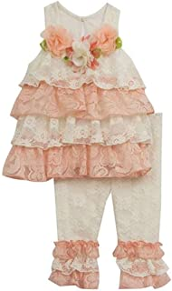 Girls Lace Ruffle Top Flowers and Leggings Set Peach Ivory