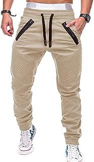 Uni Clau Mens Fashion Joggers Athletic Pants - Slim Fit Sweatpants Trousers with Zippered Pockets