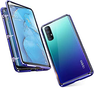 Case for OPPO Find X2 Neo/Reno 3 Pro 5G Cover Magnetic Adsorption Metal Frame Front and Back Tempered Glass Transparent Fl...
