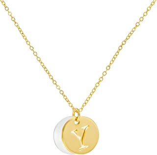 Gold Letter Initial Necklace for Women Girls - Solid 18K Gold Plated Dainty Tiny Kids Necklaces Name Alphabet Circle Disc ...