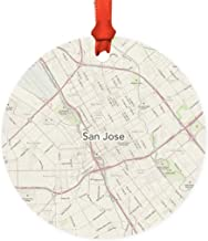 Andaz Press U.S. City Map Round Metal Christmas Ornament Gift, San Jose, California Vintage Map, 1-Pack, Long Distance College Going Away Study Abroad Birthday Christmas Gifts