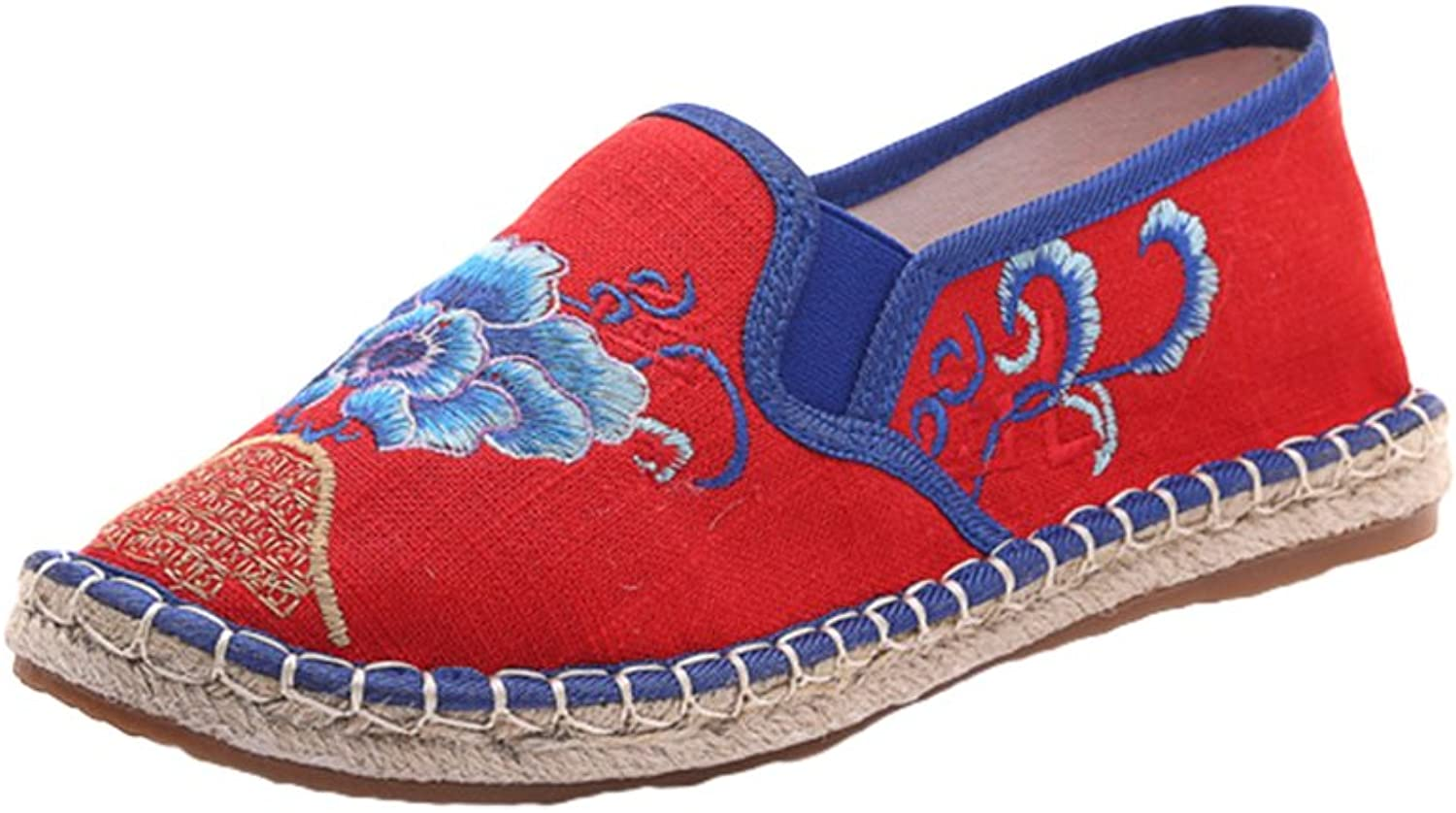 AvaCostume Womens Embroidery Linen Sewing Flats Casual Slip on Loafer