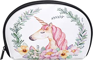 ALAZA Unicorn Floral Half Moon Cosmetic Makeup Toiletry Bag Pouch Travel Handy Purse Organizer Bag for Women Girls
