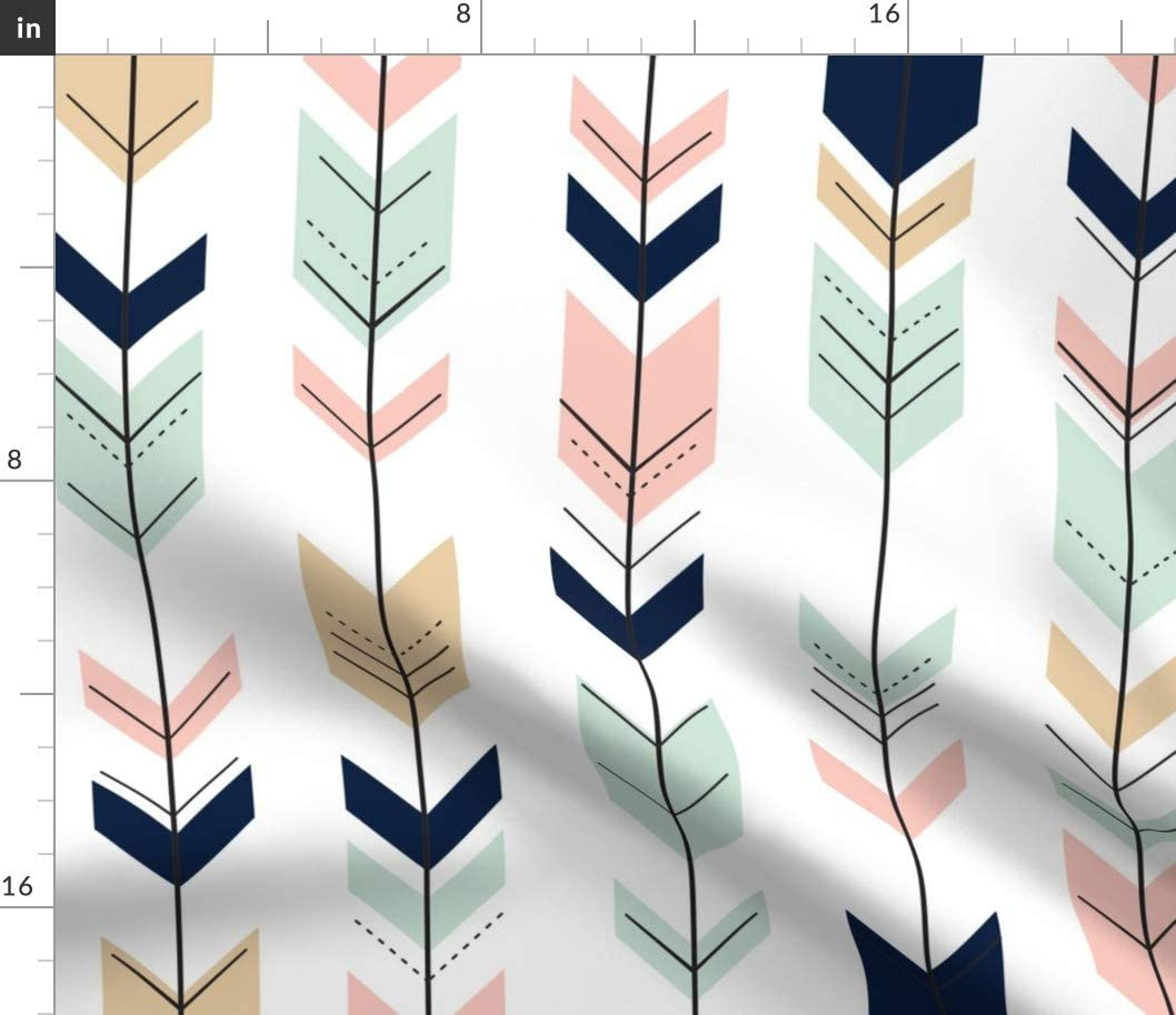 Spoonflower Fabric Super intense SALE - Fletching Arrows Ba Woods Nursery Mint SEAL limited product Pink