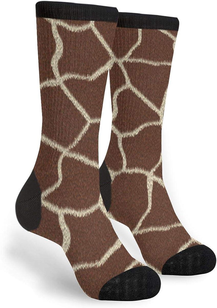 Realistic Giraffe Spot Animal Print Unisex Casual Sports Socks Knee High Athletic Long Tube Stockings
