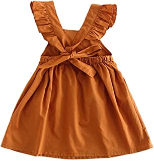 Toddler Girl Summer Dress Ruffle Sleeveless Backless Cotton Dresses for Baby Girls