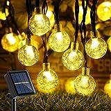 Qedertek Guirnaldas Luces Exterior Solar, Cadena de Bola Cristal Luz para Exterior, 10.85M 60 LED, Guirnalda Luminosa Impermeable, Luces Decoración para Jardín, Casa, Bodas (Blanco Calido)