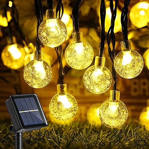 Qedertek Luci Esterno Energia Solare, Catena Luminosa Solare 60 LED con Pallina Trasparente, Lampadina Solare Impermeabile con Luci Bianco Calido, Stringa Luci Solare con 8 Modalita per Giardino
