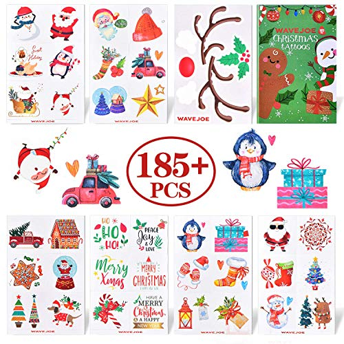 WAVEJOE 185+PCS Christmas Temporary Tattoos for Kids Stocking Stuffers, Watercolor Style Xmas Holiday Decals Goodie Gift Party Favors