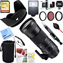 Sigma (745-101 150-600mm F5-6.3 DG OS HSM Zoom Lens Contemporary for Canon DSLR Cameras + 64GB Ultimate Filter & Flash Photography Bundle