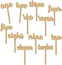 Tinksky 12pcs One-Twelve Wooden Table Numbers on Sticks for Wedding Party Decoration