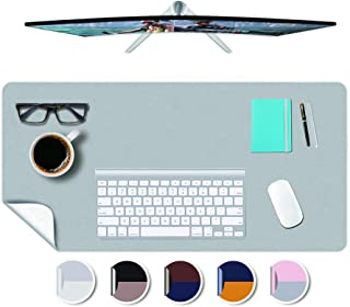 Desk Mat PU Leather Office Desk Blotter Pad Desktop on Top of Computer Laptop Writing Gaming Décor Accessories Table Topper Protector Under Keyboard Mousepad Pads Waterproof 10x12 Inches Gray+White