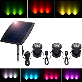 PChero Outdoor Solar Pond Light, Solar Powered Waterproof LED RGB Landscape Spotlight Security Night Light for Aquarium Garden Pool Tank Fountain Waterfall, 3 Led Lamps and Solar Panel Included