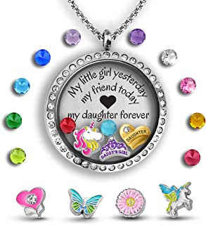 Mother Daughter Necklace Father Daughter Gifts 30mm Floating Charm Locket Pendant