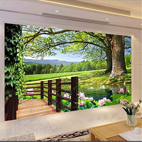 Guokaixyz Fotobehang, 3D-foto, behang, landschap, landschap, voor hoge bomen, zwembad, lotus, wandfotografische decoratie, voor woonkamer, vlies 200x140cm