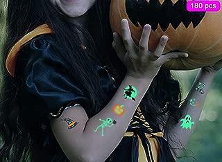 Returny Halloween Temporary Tattoos 180+ UV Blacklight Party Tattoo Stickers Pumpkin Light Wizard Dead Soul Sticker Child Prank Masquerade Candy Props