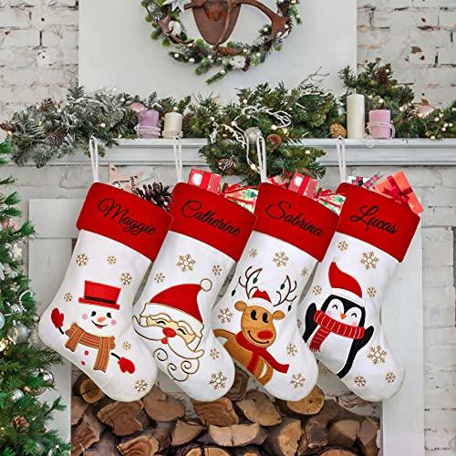 Duosheng & Elegant Calze Natalizie da Appendere Rosso Calze Befana Personalizzate con Nome 4 Calze Camino Natale Decorazioni per Natale Ornamento per Feste