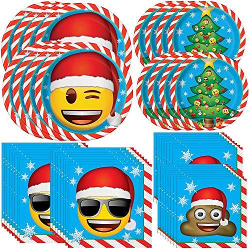 Paquete único de fiesta de Navidad Emoji | Servilletas de almuerzo y bebidas, platos de cena y postre | Ideal para fiestas de Navidad y celebraciones temáticas de emojis