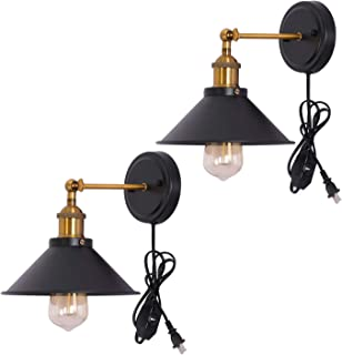 Kingmi Dimmable Metal Wall Sconce 2-Pack UL Black Hardwire Industrial Vintage Wall Lamp Fixture Simplicity Arm Swing Wall Lights (Yellow)