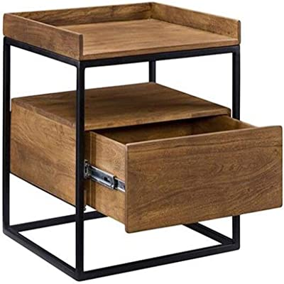 WY&XIAN Industrial Style Bedside Table with 1 Drawer Retro Coffee Table Solid Wood Small Square Table Iron Frame 2 Dimension Folding,Multifunctional (Size : 40×40×45cm)
